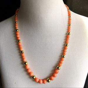 Coral/Pink & Gold Plastic Necklace